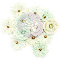 Prima Marketing -  Santa Baby Mulberry Paper Flowers, Sweet Mint