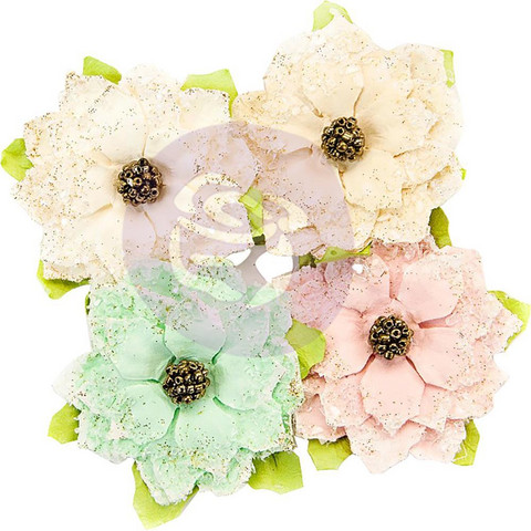 Prima Marketing -  Santa Baby Mulberry Paper Flowers, Snowkissed
