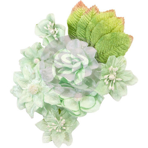 Prima Marketing -  Santa Baby Fabric Paper Flowers, Frosted Mint