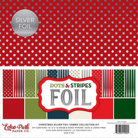 Echo Park - Christmas SilverFoil Dots & Stripes, 12