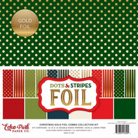 Echo Park - Christmas Gold Foil Dots & Stripes, 12