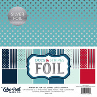 Echo Park - Winter Silver Foil Dots & Stripes, 12