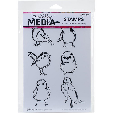 Dina Wakley Media - Cling Stamps, Scribbly Small Birdies, Leimasetti