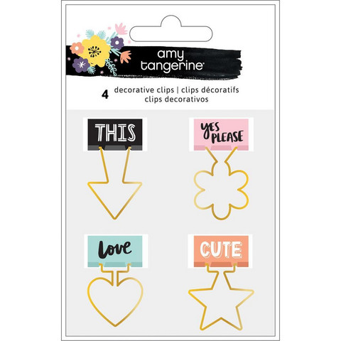 Amy Tangerine - Shine On Shaped Binder Clips, 4 kpl
