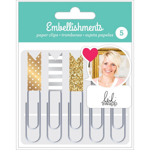American Crafts - Heidi Swapp Paper Clip Flags, Gold & Silver, Klemmarisetti, 5 kpl