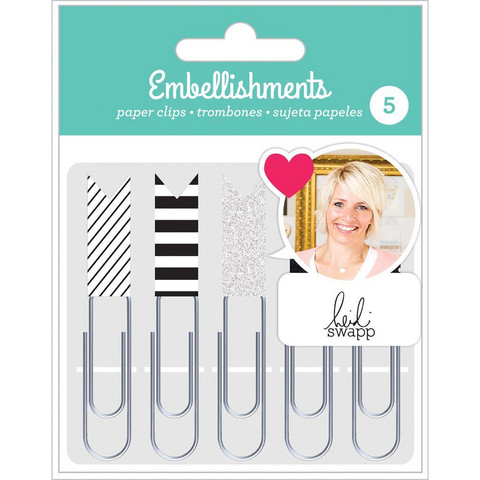 American Crafts - Heidi Swapp Paper Clip Flags, Black & White, Klemmarisetti, 5 kpl