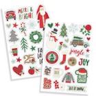 Simple Stories - Merry & Bright Puffy Stickers, Tarrasetti, 2 arkkia