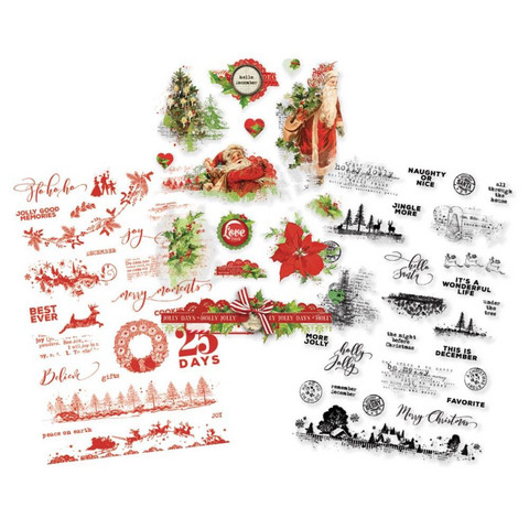 Simple Stories - Simple Vintage Christmas Clear Stickers, Tarrasetti, 3 arkkia