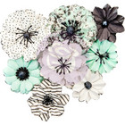 Prima Marketing -  Flirty Fleur Paper Flowers, Grey & Mint