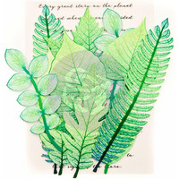 Prima Marketing -  Printed Fabric Leaf, Mountain Pine