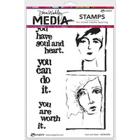Dina Wakley Media - Cling Stamps, Soul & Heart, Leimasetti