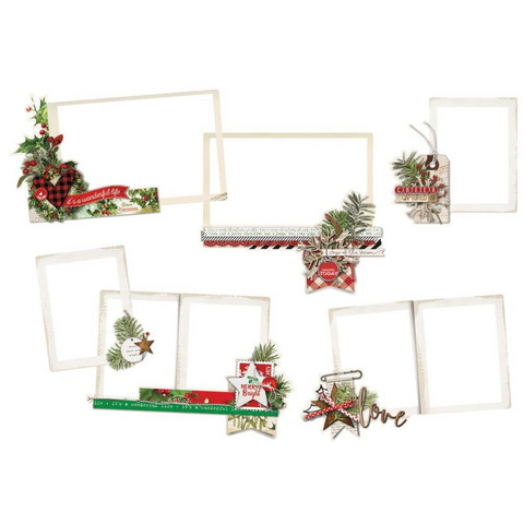 Simple Stories - Simple Vintage Christmas Layered Frames Die-Cuts, 6 kpl