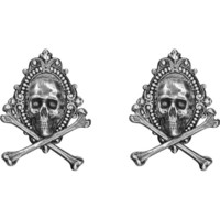 Tim Holtz - Idea-Ology Metal Adornments, Antique Nickel Jolly Roger, 2 kpl
