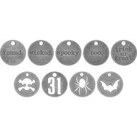 Tim Holtz - Idea-Ology Metal Typed Tokens, Antique Nickel Halloween Words, 18 kpl