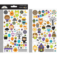 Doodlebug - Mini Cardstock Stickers, Pumpkin Party Icons, 2 arkkia