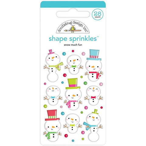 Doodlebug - Sprinkles Adhesive Glossy Enamel Shapes, Snow Much Fun, 28 osaa