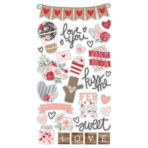 Simple Stories - Kissing Booth Chipboard Stickers 6
