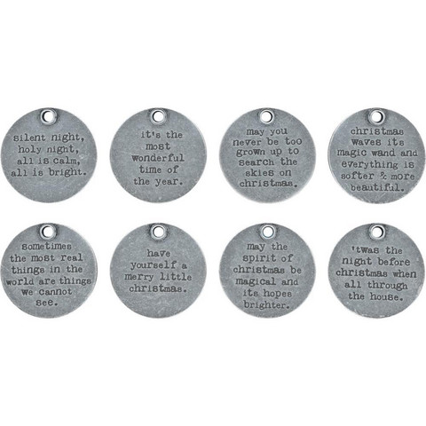 Tim Holtz - Idea-Ology Metal Quote Tokens , Christmas, 8 kpl
