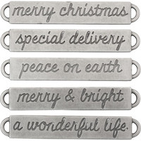 Tim Holtz - Idea-Ology Metal Word Bands, Antique Nickel Christmas, 5 kpl