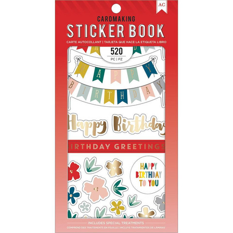 American Crafts - Birthday Greetings Sticker Book, Tarrasetti
