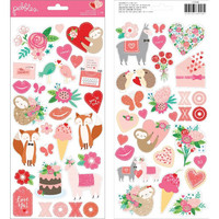 American Crafts - Pebbles Loves Me Cardstock Stickers, Icons & Accents, Tarra-arkki