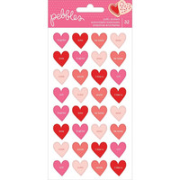American Crafts - Pebbles Loves Me Puffy Stickers, Conversation Hearts, Tarra-arkki