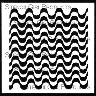 StencilGirl - Optical Waves Pattern, Sapluuna, 4