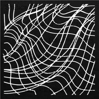 StencilGirl - Swooping Crossed Line Waves, Maski, 6