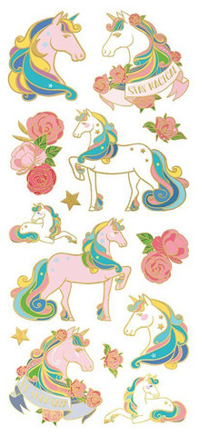 Paper House - Unicorns Faux Enamel Stickers, Tarra-arkki