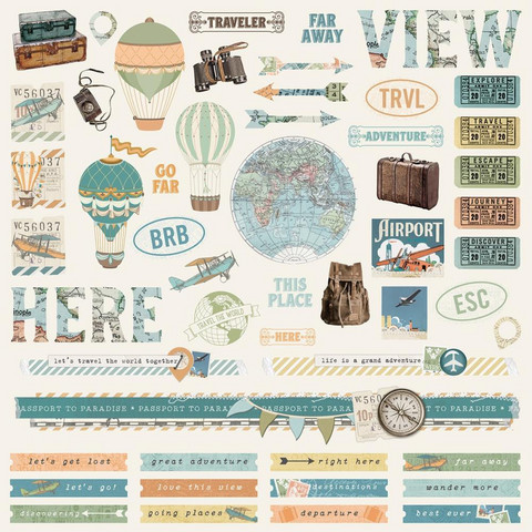Simple Stories - Simple Vintage Traveler Cardstock Stickers 12