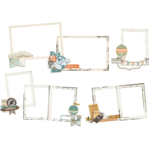 Simple Stories - Simple Vintage Traveler Layered Frames Die-Cuts, 6 kpl