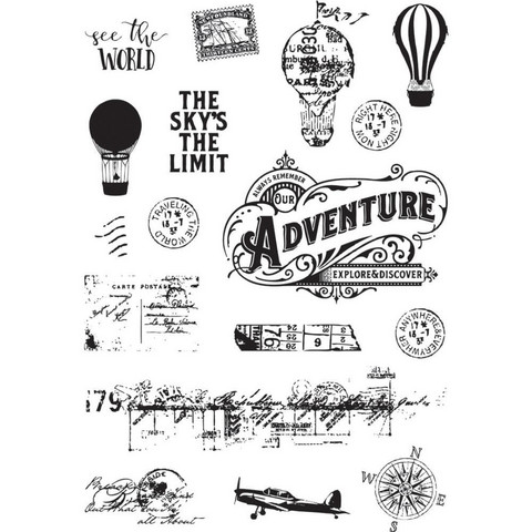 Carpe Diem - Simple Vintage Traveler, Photopolymer Clear Stamps, Leimasetti,  See The World