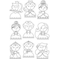 Simple Stories - Little Princess, Photopolymer Clear Stamps, Leimasetti, Pretty Princess