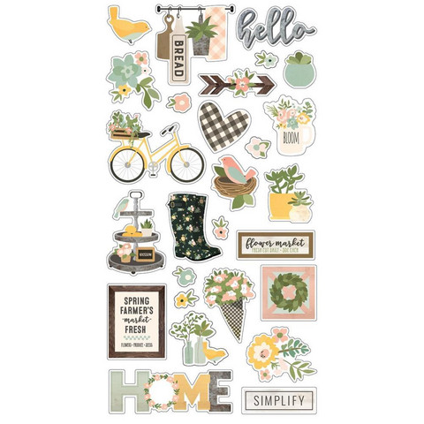 Simple Stories - Spring Farmhouse Chipboard Stickers 6
