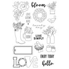 Carpe Diem - Spring Farmhouse, Photopolymer Clear Stamps, Leimasetti, Live Simply