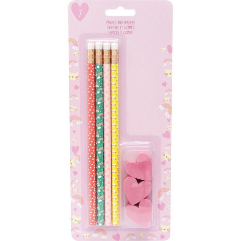 American Crafts -  Trendy Stationery Pencils & Heart Erasers, Kynäsetti