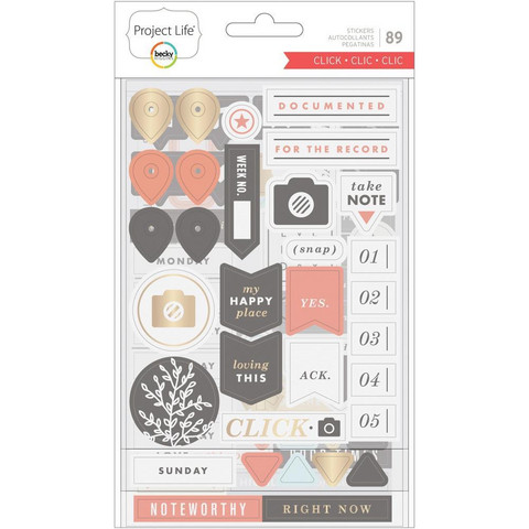 Project Life - Chipboard Stickers, Click Edition, 89 osaa