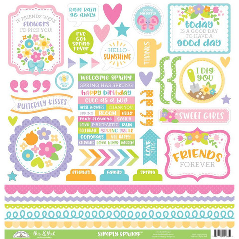Doodlebug - Simply Spring This & That, Cardstock Stickers,12