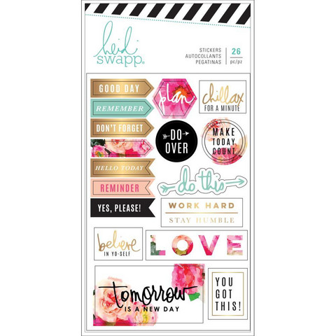 Heidi Swapp - Planner Stickers, Floral With Gold Foil, 2arkkia
