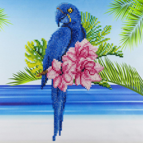 Leisure Arts - Blue Parrot, Timanttimaalaus, 40x40cm