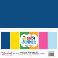 Echo Park - I Love Summer Double-Sided Solid Cardstock, 12