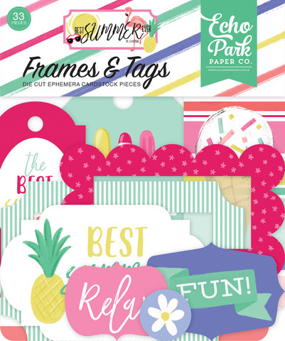 Echo Park - Best Summer Ever Frames & Tags, Leikekuvia, 33 kpl
