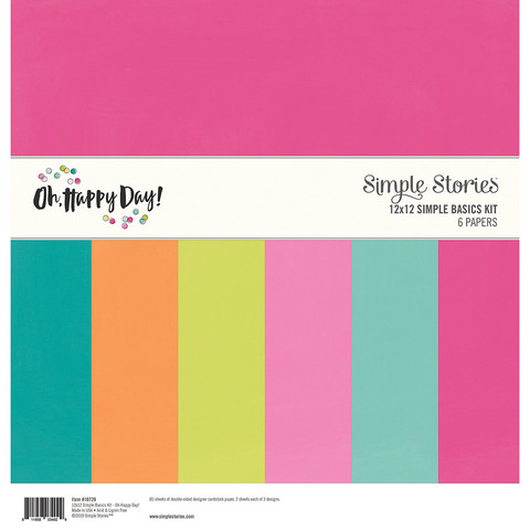 Simple Stories - Oh Happy Day, Basics Double-Sided Paper Pack 12