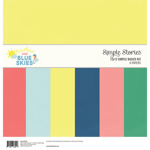 Simple Stories - Sunshine and Blue Skies Basics Double-Sided Paper Pack 12