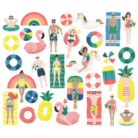 Simple Stories - Sunshine and Blue Skies Pool People Bits & Pieces Die-Cuts, 31 osaa