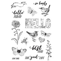 Carpe Diem - Simple Vintage Botanicals, Photopolymer Clear Stamps, Leimasetti, Love Life