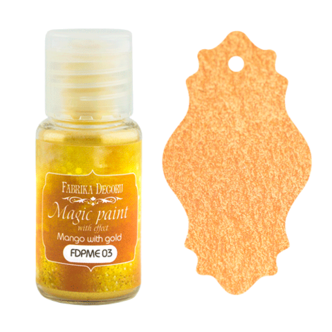 Fabrika Decoru - Magic Paint With Effect, Helmiäisvärijauhe,15 ml, Mango with gold