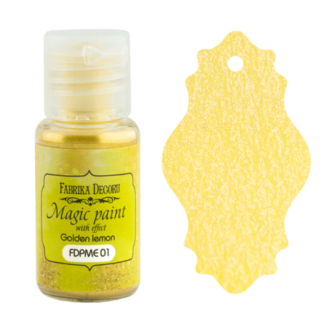Fabrika Decoru - Magic Paint With Effect, Helmiäisvärijauhe,15 ml, Golden lemon