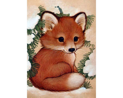 Collection D'Art - Fox pup, Timanttimaalaus, 19x27cm