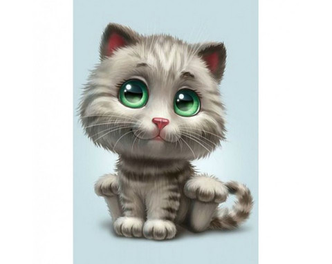 Collection D'Art - Green-eyed kitten, Timanttimaalaus, 19x27cm